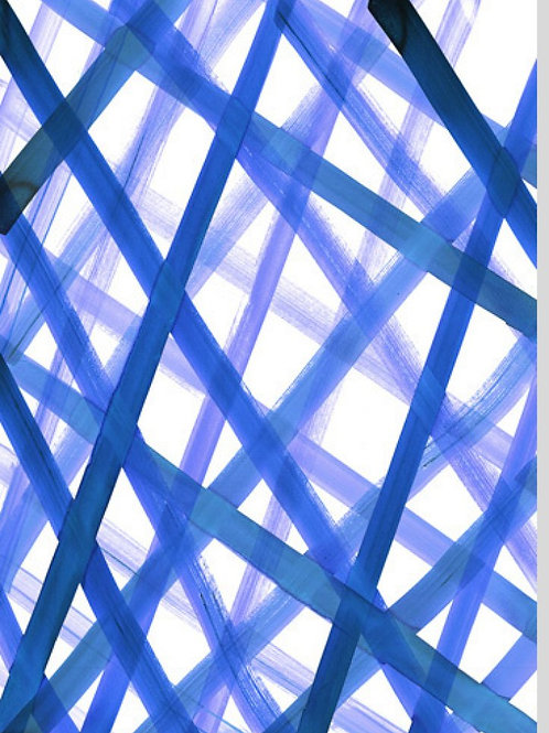 Criss Cross Blue Canvas by Amy Sia
