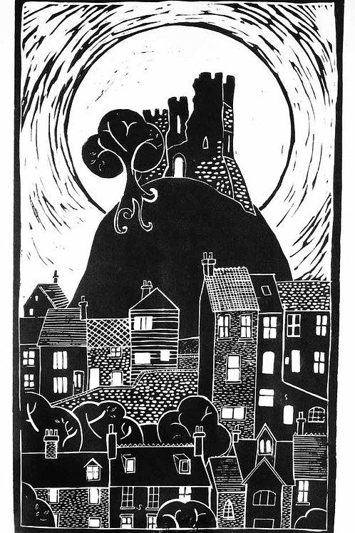 Lewes Castle Linocut Print by Laina Watt