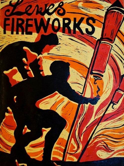 Lewes For Fireworks Linocut Print by Laina Watt
