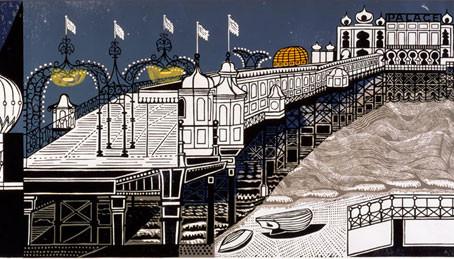 Focus on 'Brighton Pier' Linocut Print by Edward Bawden