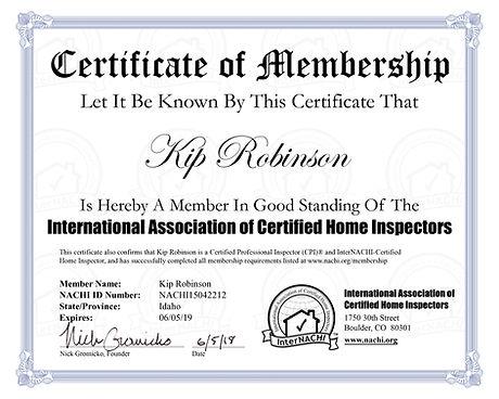 InterNachi Certification Spartan Home In