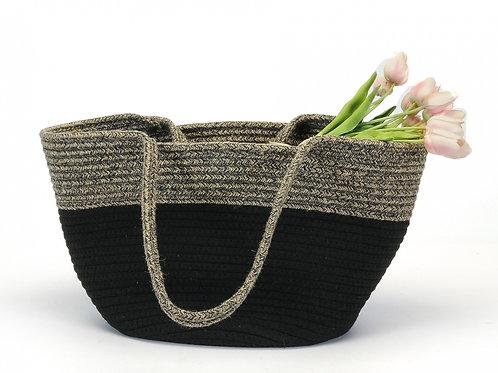Jute Cotton Black Bag