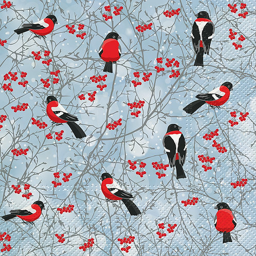 Luncheon Winter Birds Napkins. 20 Pack