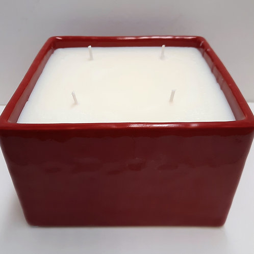 Red Planter with Four Wick Candle - 32 oz.