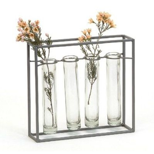 Metal Frame with 4 Tube Vases