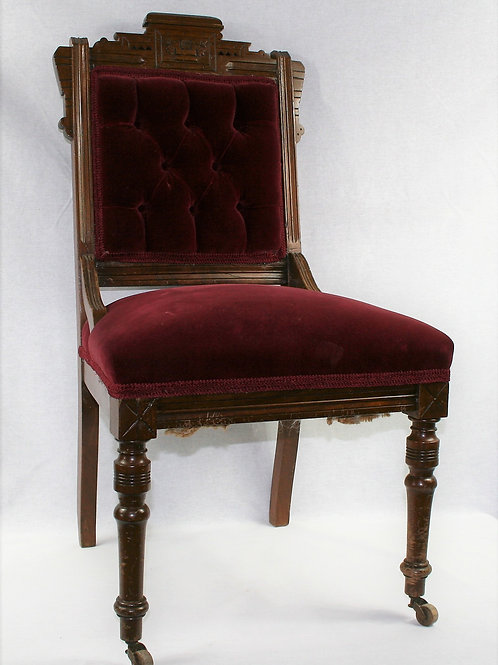 Red Velvet & Wood Chair