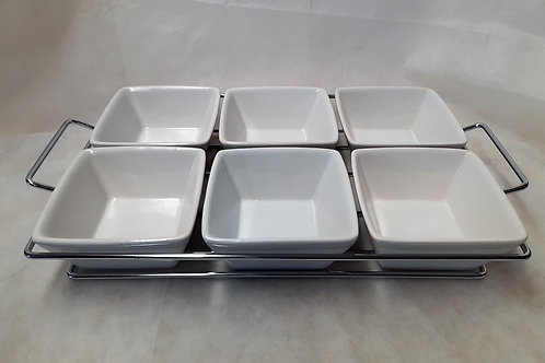Silver Wire Frame with 6 Square Bowls