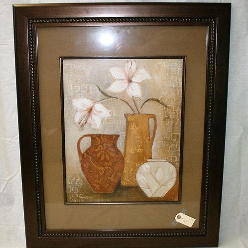 Floral with 3 Vases Brown Wood Frame