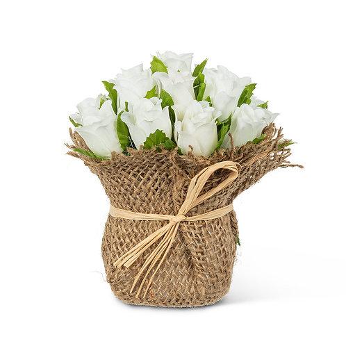 White Rose Heads in Jute