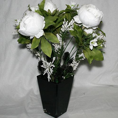 Large Black Vase with White Flowers