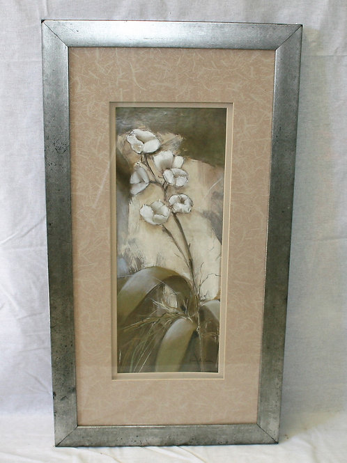 Silver Frame with Cotton Plant