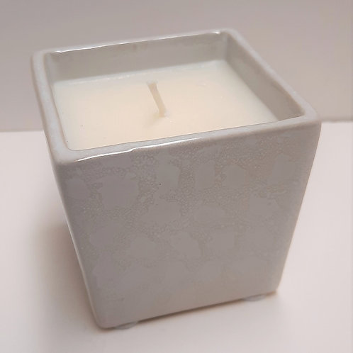 White Mini Planter with Candle - 3.5 oz