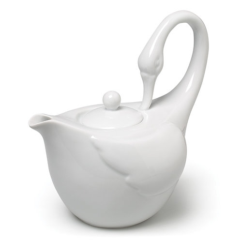Graceful Swan Teapot - White