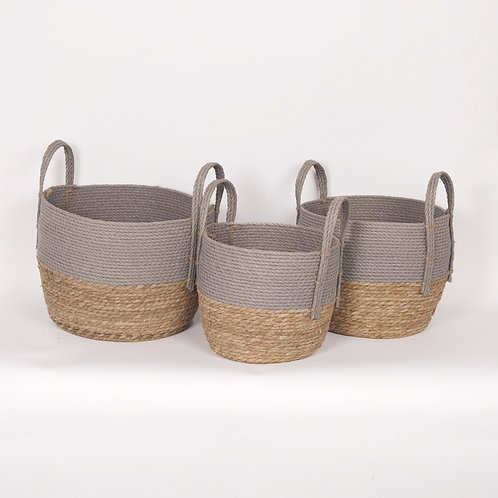 Grey/Natural Straw Basket – Set of 3