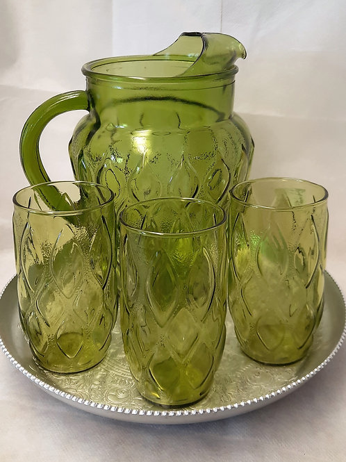 Green Pitcher with 3 Glasses