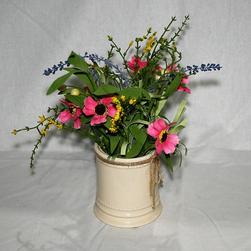 Cream Pot with Pink & Lavender