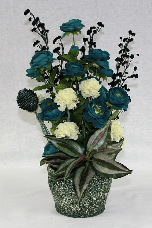 Teal Green Textured Vase with  Blue Flowers