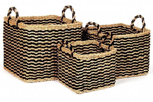 Square Sea Grass Black Baskets – Set of 3
