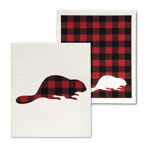 Check Beaver Dishclothes - Set of 2