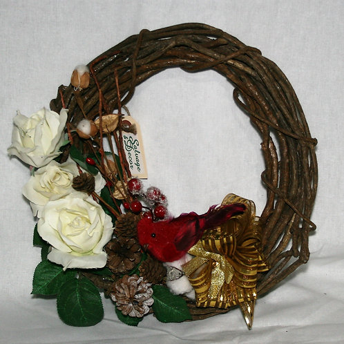 Wreath - Small Cardinal, Cones, Flowers