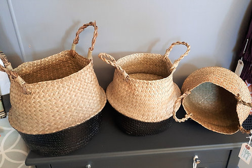 Set of 3 Black/Straw Collapsible Baskets