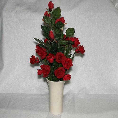 Cream Vase with Red Flowers