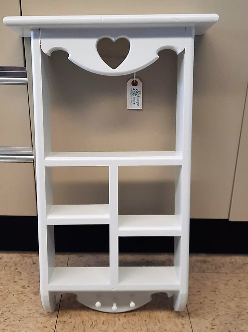 White Solid Wood Shelf with Cup Hooks