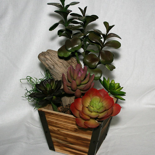 Square Wood Vase with Succulents