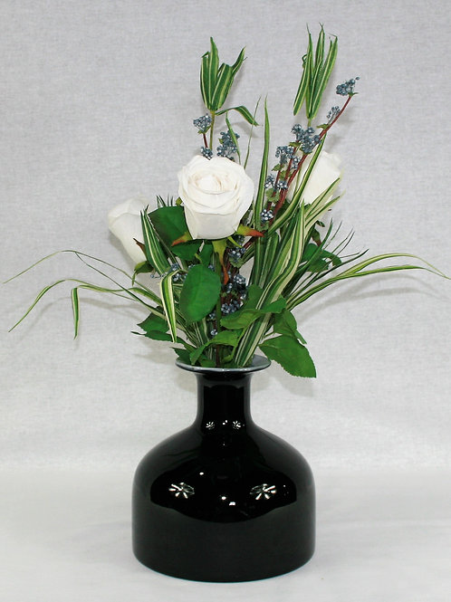 Black Vase with White Roses