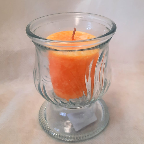 Clear Glass Votives with Pumpkin Candles