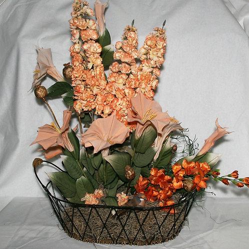 Metal Basket with Orange Flowers