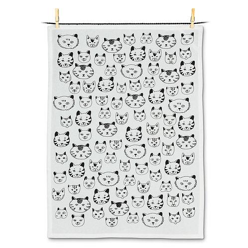 Simple Cat Faces Tea Towel