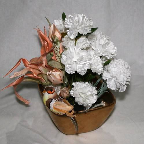 Gold Pot with White & Peach Flowers