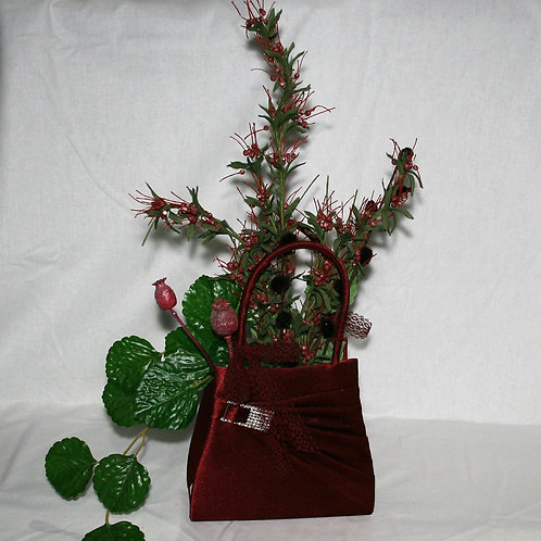 Burgandy Purse with Flowers