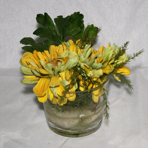 Clear Vase with Yellow Flowers