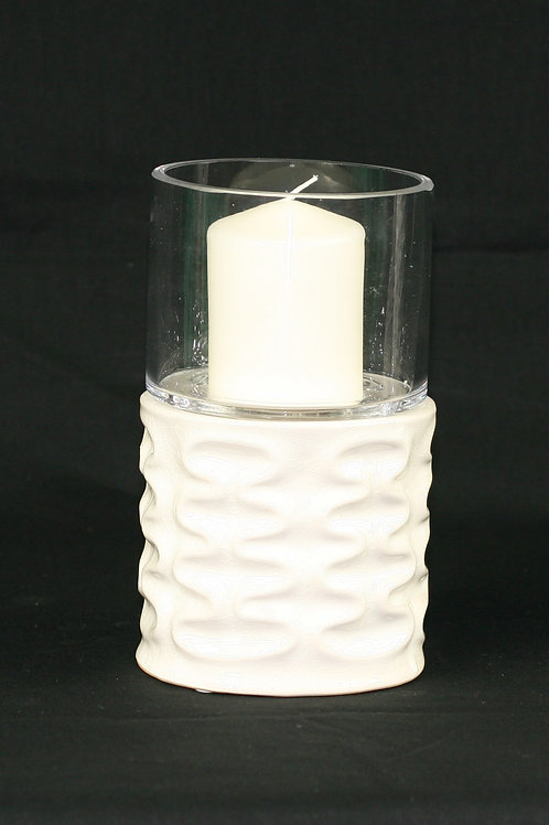 White Textured Candle Holder Short