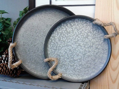 Round Metal Tray with Rope Handles - 14""