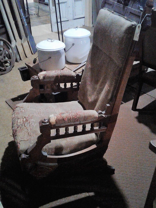 Antique Rocking Chair with Unique Wood Carving