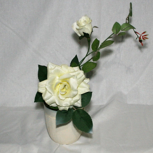 Small White Vase with White Flower