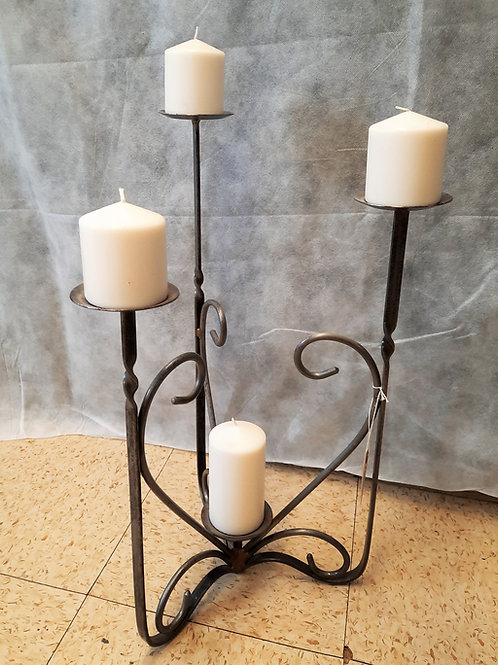 Metal 4 Candle Candelabra with Candles