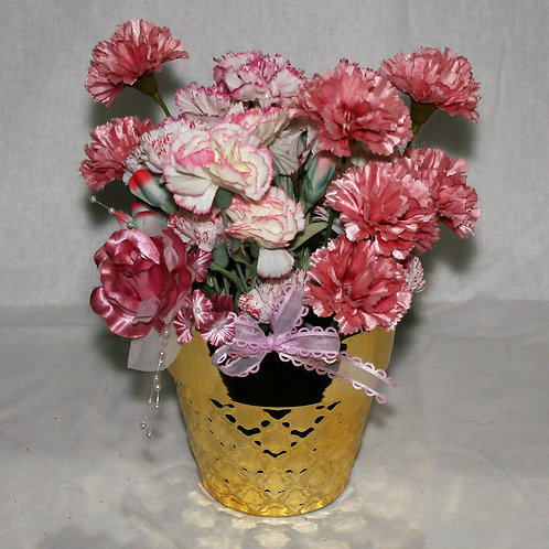 Gold Vase with Pink Carnations