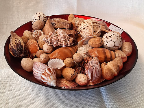 Balls & Shells in Unique Red Bowl