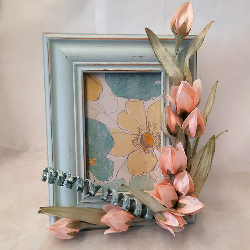 Picture Frame with Pink Flowers