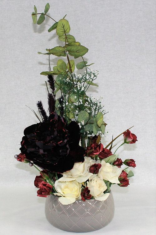 Gray Vase with Black & Burgandy