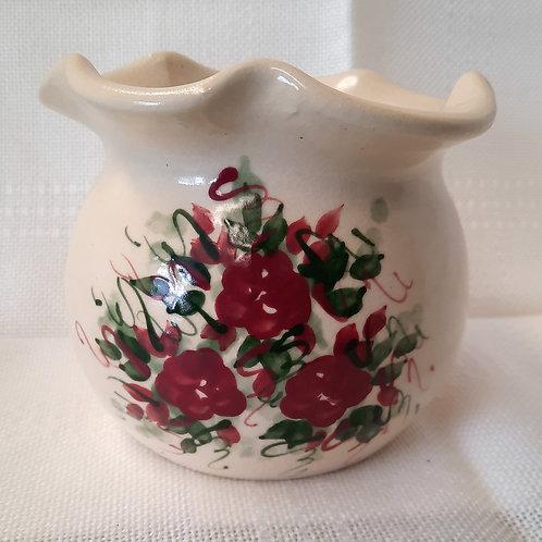 Beige with Burgandy Flowers Vase