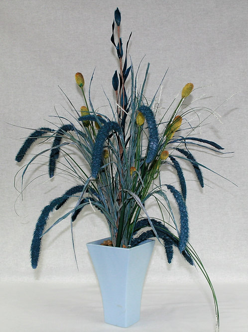 Light Blue Vase with Cat Tails