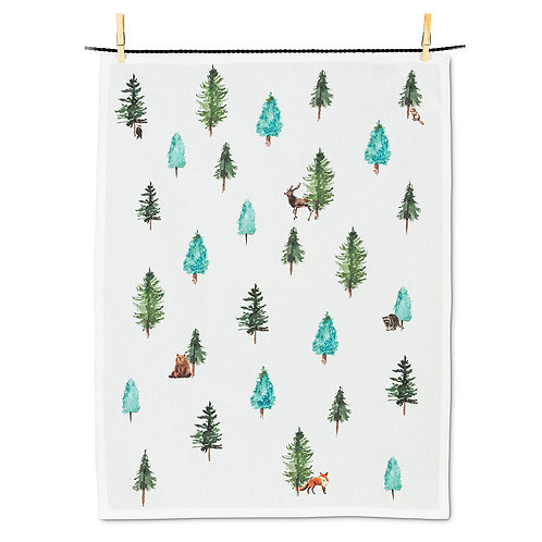 Evergreens & Animals Tea Towel