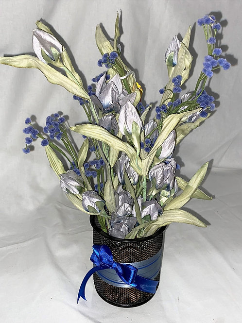 Black Mesh Vase with Blue Flowers