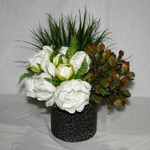 Black Crackle Vase with White & Green