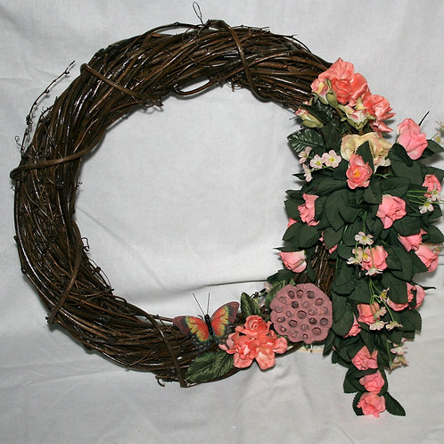 Wreath - Pink, Peach Flowers with Butterfly
